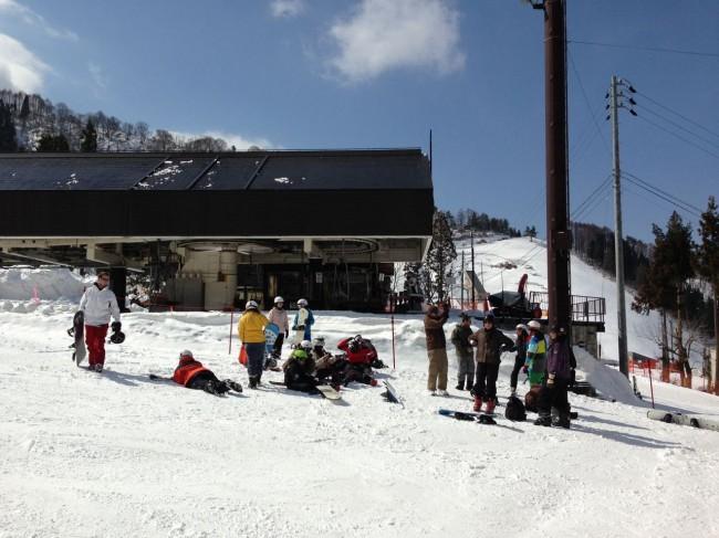 International School group from the Island of Bali enjoying the Spring skiing in Nozawa