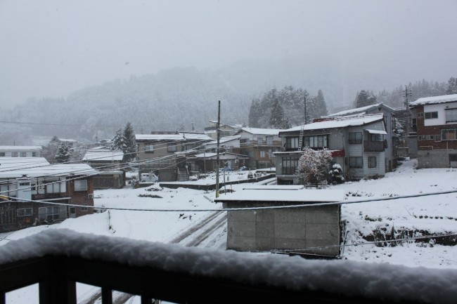 Views from Lodge Nagano this morning with a nice little December dump