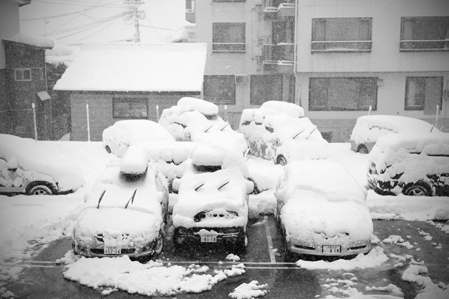 A classic sight in Nozawa Onsen. Car mushrooms.
