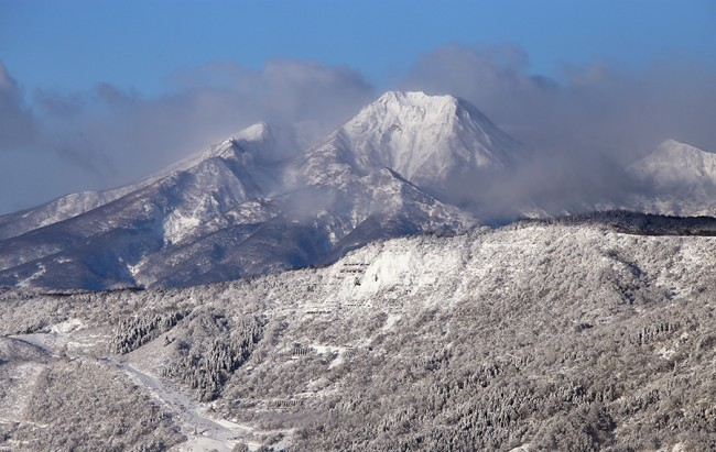 Early morning view of Myoko across the valley.