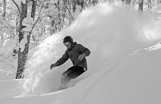 Brad throws a decent roster tail in the Nozawa Onsen trees.