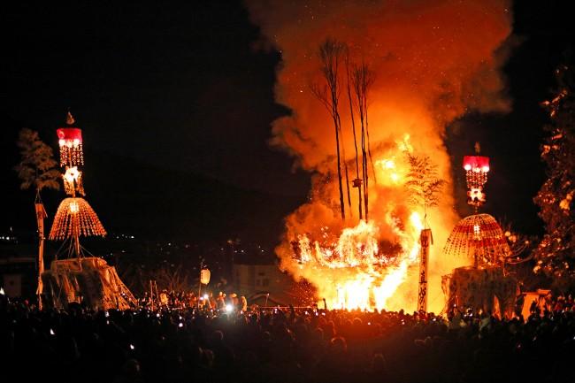 Dosojin fire festival Nozawa Onsen.