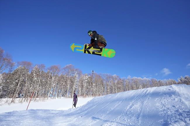 Yuto hits up the park on a sunny day in Nozawa.