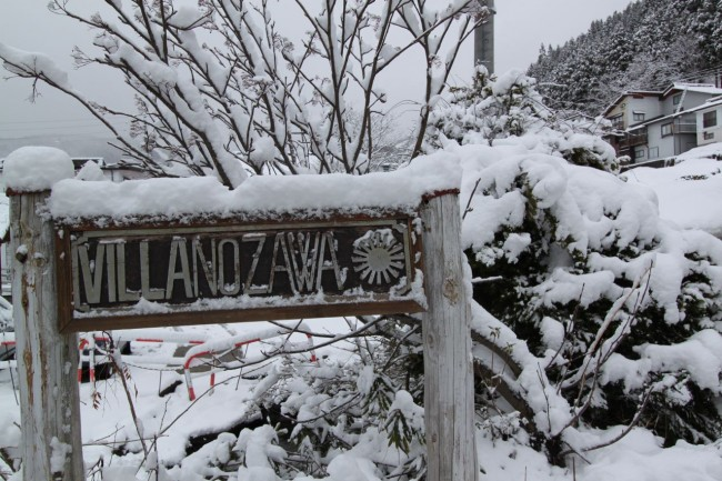 Has been a while since we saw snow on the sign. Welcome back to Nozawa Onsen