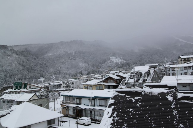 Blessed with more than we expected this morning. Travel plans on hold in Nozawa and the planks are strapped on again..