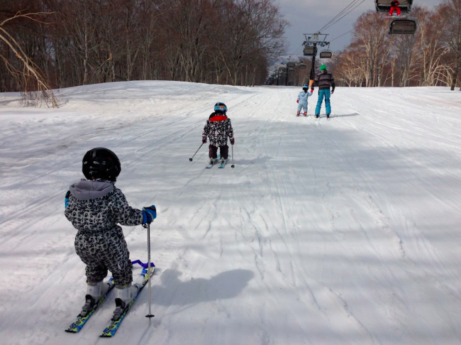 Spring is a great time for the kids to learn the life long art of skiing! Kai and friends laying down some turns
