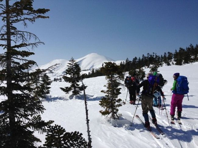 The hike up on our Ski Tour to Mt Hiuchi. The views and a warm hut the rewards