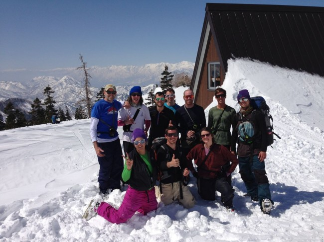 All the gang at the Hut enjoying the scenery before heading off for the day