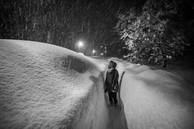 Path to ski locker last night. An example of depths here at the moment.