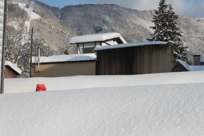 Kids loving the snow change in Nozawa