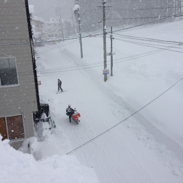 Spare a thought for the Nozawa Postie. Rain, hail or 300cm of fesh powder...