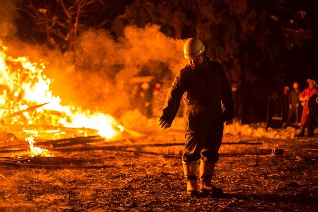 A steaming man at the Nozawa Onsen fire festival.