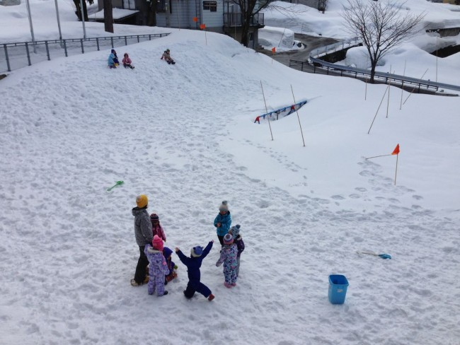 Need to bring your A game to Kindy in Nozawa. The swings are under 3 meters of snow for a few months every year!