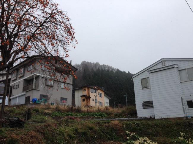 First snow of the season in the Village in Nozawa