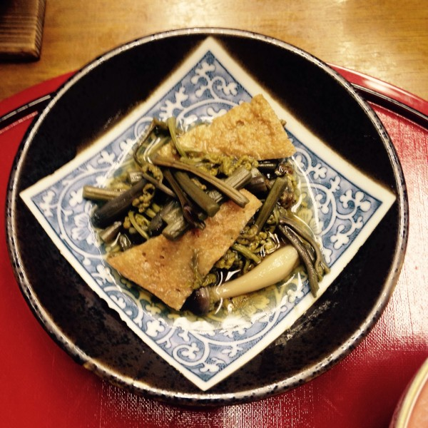 Local made tofu and hand picked wild mountain vegetables one of the dishes on the menu at Kawabata
