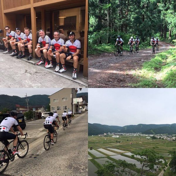 Tony and the gang enjoying Day 1 of their cycle tour in Nozawa Onsen