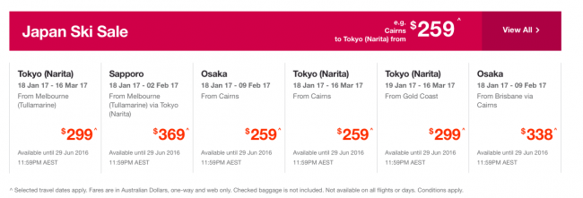 Jetstar Sale Fares finish tomorrow the 29th of June