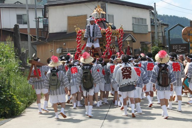 The Omokoshi or Shrine is paraded thru the streets of the village and is spectacular to watch