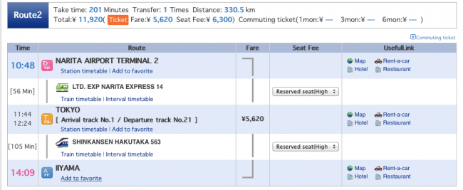Here is an example of the type of print out you can get on your travel times to Nozawa Onsen from Narita