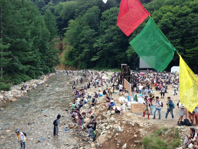 Fuji Rock is held in the heat of Summer but at night is cool in the mountains and during the day there is a stream to have a swim