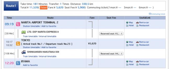 Narita Nozawa Times Cost