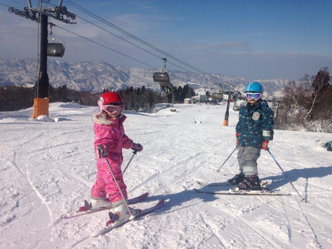 Kids enjoying free Sunday skiing on their Nozawa Weekend