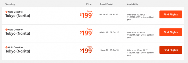 Jetstar Sale to Japan