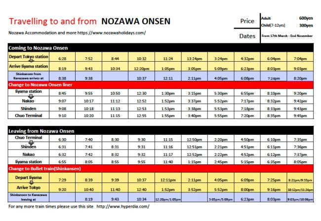 Timetable Bus Train Nozawa Onsen