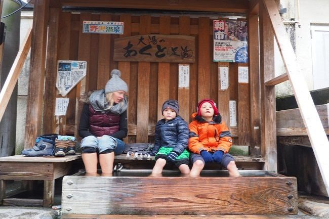 Family Ski Nozawa Onsen Hot springs foot soak